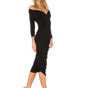 Norma Kamali Black Tara Ruched Long Sleeve Dress L